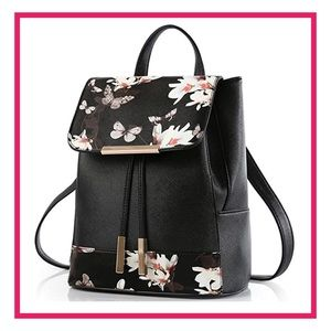 Handbags - 💋COMING SOON - Black Floral Leather Backpack
